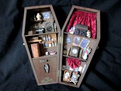 "Gamble's Funeral Services 12"" Miniature Coffin Shadow Box Coffins and Embalming"