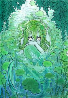 """mermaholic: """" A timid nixie peaks at us from her lily-padded pond. from the artist, Mikiko Ponczeck, here. Cartoon Kunst, Cartoon Art, Art And Illustration, Fantasy Kunst, Fantasy Art, Pretty Art, Cute Art, Art Sketches, Art Drawings"""