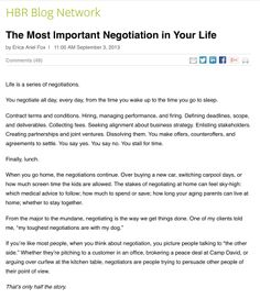 The Most Important Negotiation in Your Life by Erica Ariel Fox via HBR Blog #leadership #professional #executive