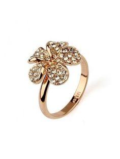 Authentic Popular Pure Silver Color Diamond Petal Ladys Ring