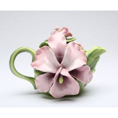 Cosmos Gifts Pink Orchid 0.28-qt. Teapot