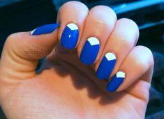 Royal Blue & Aqua V-Gap Nails
