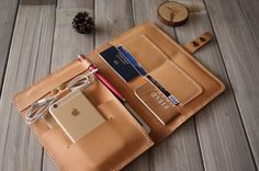 iPad Pro Sleeve MacBook Case iPhone SE Leather Portfolio, Travel / Conference Organizer, Notebook Covers, Hand Stitched Leather Folio
