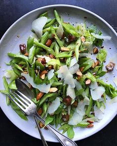 Crispy Celery Salad With Toasted Almonds, Dates And Parmesan recipe by James Maikowski Celery Salad, Best Salad Recipes, Parmesan Recipes, Toasted Almonds, Side Salad, Almond Recipes, Sauce, Quick Easy Meals, Healthy Choices