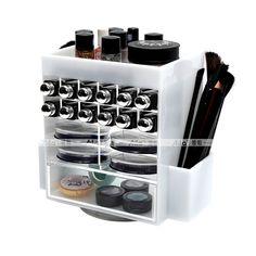 Aila Spinning Acrylic Makeup Organizer Holds 12 Lipstick Holder 2 Brushes Slots 4 Powder Compact Cases White Cosmetics Storage