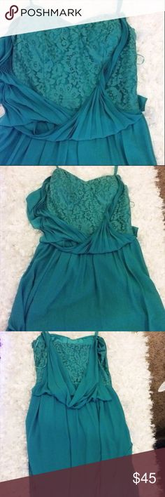 "Jessica Simpson Size 6 Prettiest Dress Ever Dry clean. Cotton, nylon blend, has lace underneath the chiffon. Beautiful draping in the back. Deep mint color. Spaghetti straps 33"" long 15"" wide. Jessica Simpson Dresses"