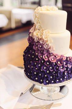 Ombré purple & white cake