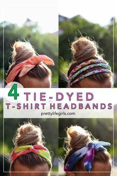 DIY Tie Dye Headbands Tutorial in 2020 (With images) Diy Tie Dye Headbands, Tie Headband, Girl Headbands, T Shirt Headbands, Hippie Headbands, Rainbow Dash Party, Diy Tie Dye Shirts, Diy Shirt, T Shirt Crafts