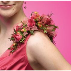 Pink Spray Rose Shoulder Corsage in Greenfield MA, Floral Affairs Prom Corsage And Boutonniere, Bridesmaid Corsage, Corsage Wedding, Boutonnieres, Corsages, Flower Girl Bouquet, Flower Corsage, Flower Bouquet Wedding, Floral Wedding