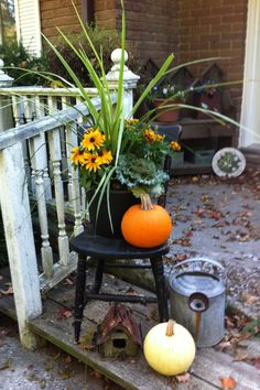 Fall Garden Vignette - grass instead of dracena