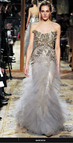 Marchesa Fall 2012 (strong bronze/gold with tulle-y grey)