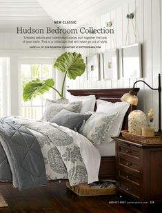 E A-D. HUDSON BEDROOM COLLECTION Distressed and finished by hand in a multistep process using our exclusive Mahogany stain. Bed requires a box spring. Visit