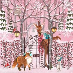 Christmas Holiday Illustration & Products by Caroline Bonne-Muller at Cartita Design Very Merry Christmas, Pink Christmas, Christmas Colors, Christmas Greetings, Winter Christmas, Vintage Christmas, Christmas Things, Winter Illustration, Christmas Illustration