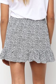 daf5de3f0f Women White Polka Dot Print Ruffles Hem High Waist Casual Mini Skirt - XL  Polka Dot