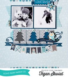 """This scrapbook layout by Tegan Skwiat features DIY Embellishments with the Designer Dies from the """"Hello Winter"""" collection by #EchoParkPaper.  The blog post has a tutorial for making the tree and penguin embellishments!"""