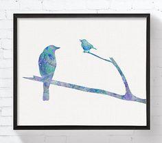 Watercolor Bird Bird Art Print Baby Bird Nursery by MiaoMiaoDesign