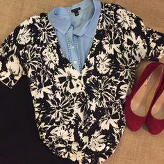 Black floral cardigan. XL Very lightweight cotton cardigan.  Short sleeves LOFT Sweaters Cardigans