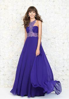 Halter Floor Length Chiffon A Line Evening/Prom Dress