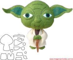 Molde de Star Wars para E.V.A. Feltro e Artesanato – YODA Star Wars Christmas, Christmas Ornament Crafts, Felt Christmas, Felt Patterns Free, Felt Ornaments Patterns, Peluche Star Wars, Natal Star Wars, Anniversaire Star Wars, Crochet Stars