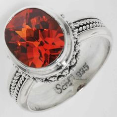 Sarda Created Padparadscha Sapphire Ring in Sterling Silver
