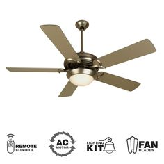 """View the Craftmade Cosmos Unipack 52"""" 5 Blade Indoor Ceiling Fan - Blades, Remote and Light Kit Included at LightingDirect.com."""