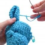 How to attach a folded ear to amigurumi