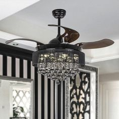 """43 """"Birchley 4 Blade LED Ceiling Fan with Remote Control - Trend Chandelier Ceiling Fan Chandelier, Black Chandelier, Led Ceiling, Chandelier Bedroom, Bedroom Lighting, Bedroom Decor, Best Ceiling Fans, Ceiling Fan With Remote, Ceiling Fan Makeover"""