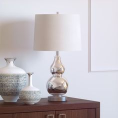 Set of 2 Arlinger Art-like Table Lamps Bronze Hue Base Bell Shaded Shade in Tan