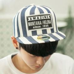 Lettering-Patch Stripe Cap  from #YesStyle <3 ABOKI YesStyle.com