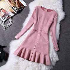 Women Dress New Autumn Long Sleeve Suede Dress Ladies Slim Bottoming Flounced Fishtail Midi Dresses Vestidos Plus Size