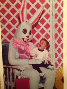 Scary Easter Bunny & a terrified toddler.