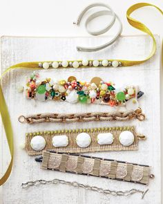 Use ribbon and other trims (we used cotton webbing and uncut fringe) as the base for these beautiful bracelets that are decorated with beads and gems.