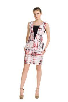 33d4557cf0 Sukienka mini z czerwonym wzorem graffiti. Mini dress with red graffiti  print. Bee Collection