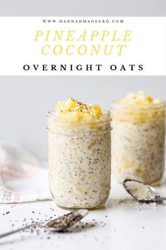 The easiest healthy breakfast - overnight oats! With a tropical twist thanks to pineapple and coconut flavours. The easiest healthy breakfast - overnight oats! With a tropical twist thanks to pineapple and coconut flavours. Manger Healthy, Overnight Oatmeal, Healthy Overnight Oats, Dairy Free Overnight Oats, Pineapple Coconut, Canned Pineapple, Healthy Breakfast Recipes, Healthy Breakfasts, Pineapple Recipes Healthy