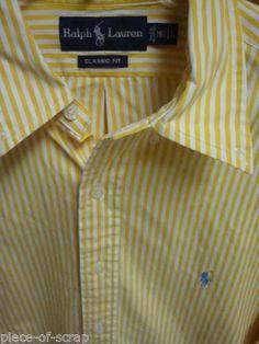 RALPH LAUREN POLO Mens Shirt Button Front 16.5 16 1/2 Long Sleeve Dress Striped #ralphLauren #polo #shirt #ebay