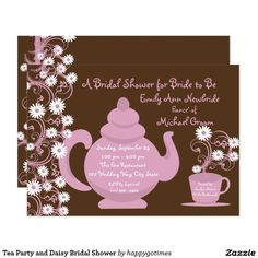 Tea Party and Daisy Bridal Shower Card