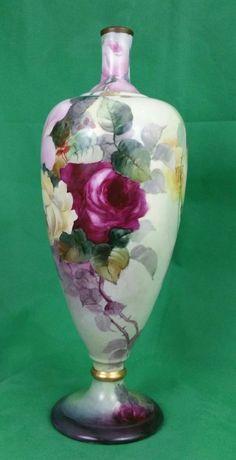 Monumental Lenox (CAC) BELLEEK Cabbage ROSE Vase (1889-1906)