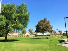 A big grassy field for picnicking or playing at Providence Ranch Park in Eastvale, California. http://youreastvalerealtor.com/eastvale-parks/