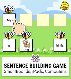 Practice pre-primer sight words with this engaging sentence building game. This fun game for kids works with any device Kindergarten Games, Classroom Activities, Educational Websites For Kids, Smart Board Activities, Pre Primer Sight Words, Group Games For Kids, Sentence Building, Phonics Games, Vocabulary Games