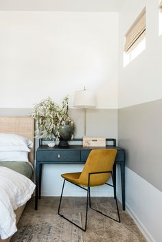 In this Master Bedroom Refresh, the owner decided to use a desk instead of a nightstand beside her bed - such an efficient use of space - The Identité Collective, click through to read more! Cute Home Decor, Cheap Home Decor, Home Bedroom, Bedroom Decor, Bedroom Furniture Arrangement, Bedroom Ideas, Bedroom Signs, Decorating Bedrooms, Design Bedroom