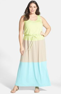 London Times Colorblock Print Matte Jersey Maxi Dress (Plus Size) available at #Nordstrom