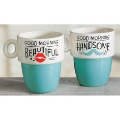 Good Morning Mug Set. Wake up on the sunny side with his-and-her stackable mug set--makes a great shower or wedding gift! Holds Dishwasher and microwave safe. Antique Kitchen Cabinets, Kitchen Cabinet Styles, New Kitchen, Vintage Kitchen, Good Morning Handsome, Kitchen Modular, Kitchen Decor Themes, Perfect Cup, Black Decor