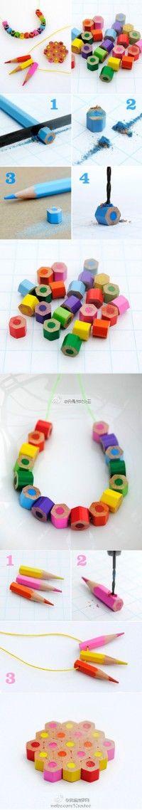 废旧铅笔再利用,DIY彩色铅笔项链哦~ 个性又特别呢~而且还能废物利用~  Used a pencil and then use DIY color pencil necklace