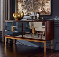 A smaller console for under the TV. Consider flanking it with two occasional chairs like Bungalow 5 Monaco or Loop chairs covered in hot pink velvet. Modern Buffet, Modern Sideboard, Credenza, Contemporary Interior Design, Interior Design Living Room, Luxury Furniture, Furniture Design, Dining Room Bar, Dining Rooms