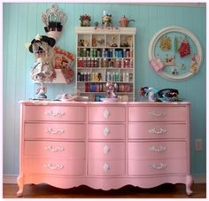 Fun Shabby Chic Pink Dresser recycled for the BedRoom Furniture, Room, Pink Dresser, French Provincial Dresser, Dresser Makeover, Room Redo, Room Inspiration, Craft Room, Pink Interiors Design