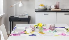 Kesäniitty Coated Runner   Pentik Summer 2018   Designed by Lasse Kovanen, Kesäniitty (Summer Meadow) waxcloth table runner charms with meadow flowers and butterflies. Its fresh, watercolour-like colours make your summer home prettier than ever. 47x160 cm in size, Kesäniitty table runner is made of acrylic-coated cotton. Machine-washable at 40 degrees with a gentle program.
