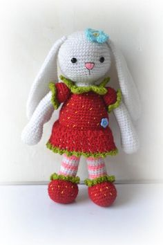(4) Name: 'Crocheting : Strawberry Bunny