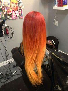 Cabello rojo difuminado a naranja