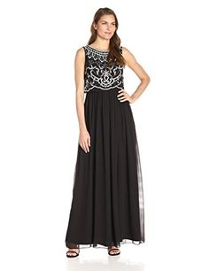 Adrianna Papell Womens Beaded Bodice Popover Sleeveless Gown BlackIvory 14 ** You can find more details by visiting the image link.
