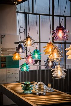 New coloured blown glass lamps Made in Italy